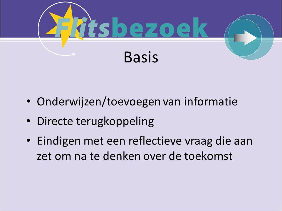 Basis Onderwijzen/toevoegen van informatie Directe terugkoppeling