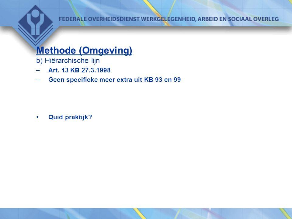 Methode (Omgeving) b) Hiërarchische lijn Art. 13 KB 27.3.1998