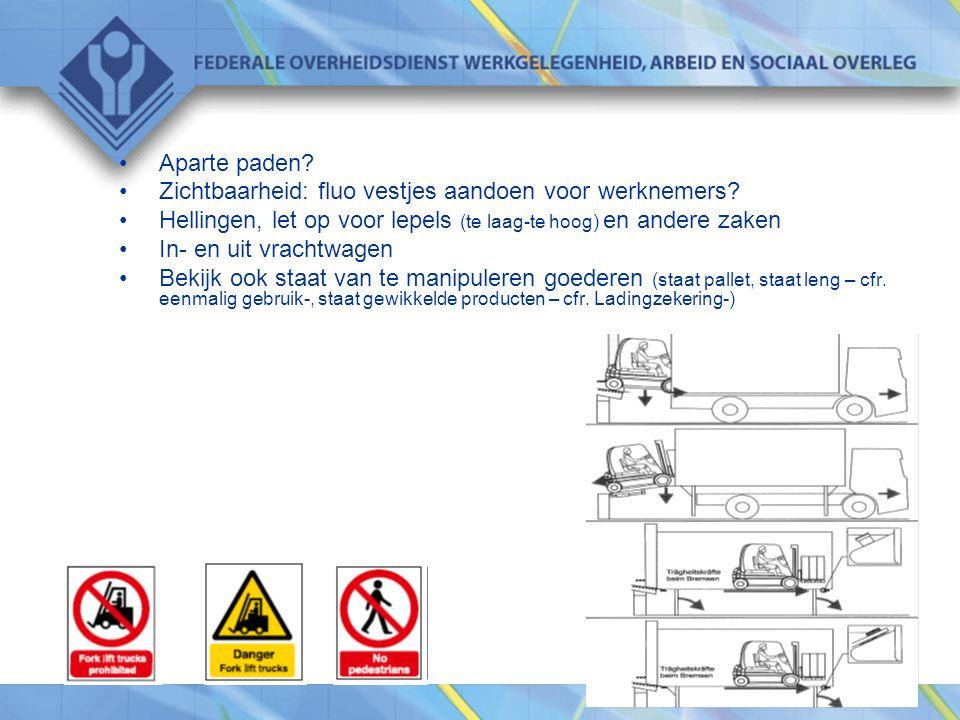 Aparte paden Zichtbaarheid: fluo vestjes aandoen voor werknemers Hellingen, let op voor lepels (te laag-te hoog) en andere zaken.