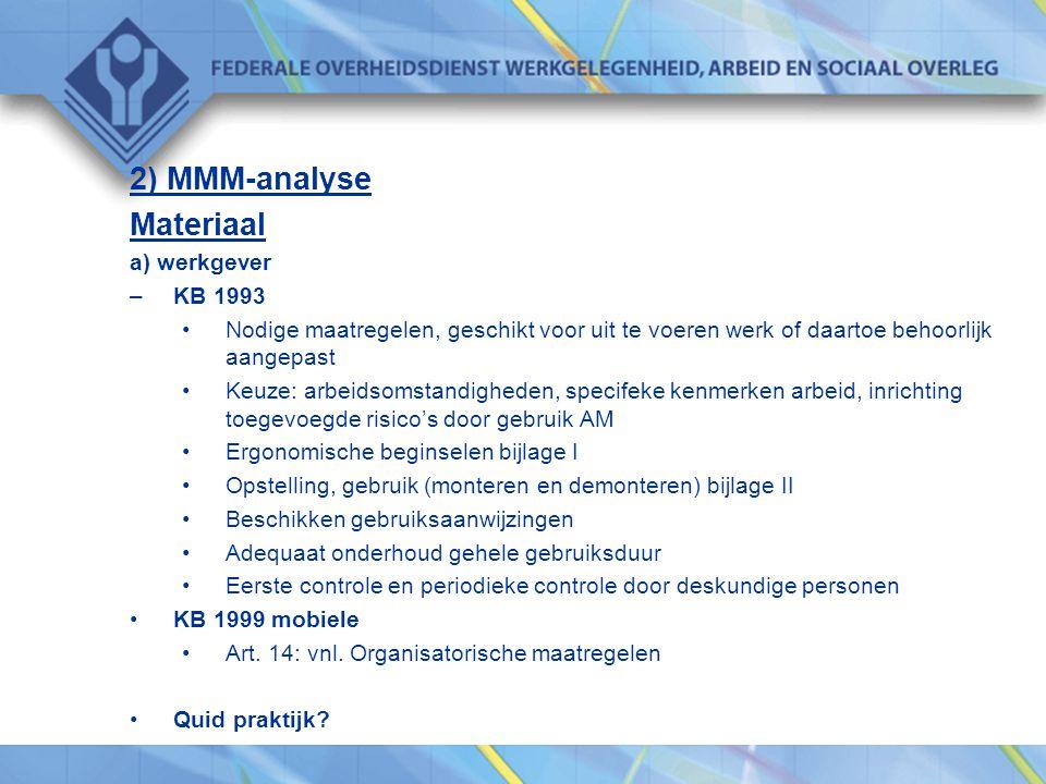 2) MMM-analyse Materiaal a) werkgever KB 1993