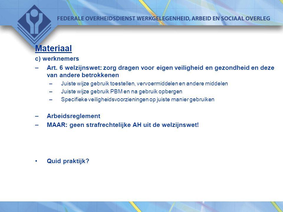 Materiaal c) werknemers