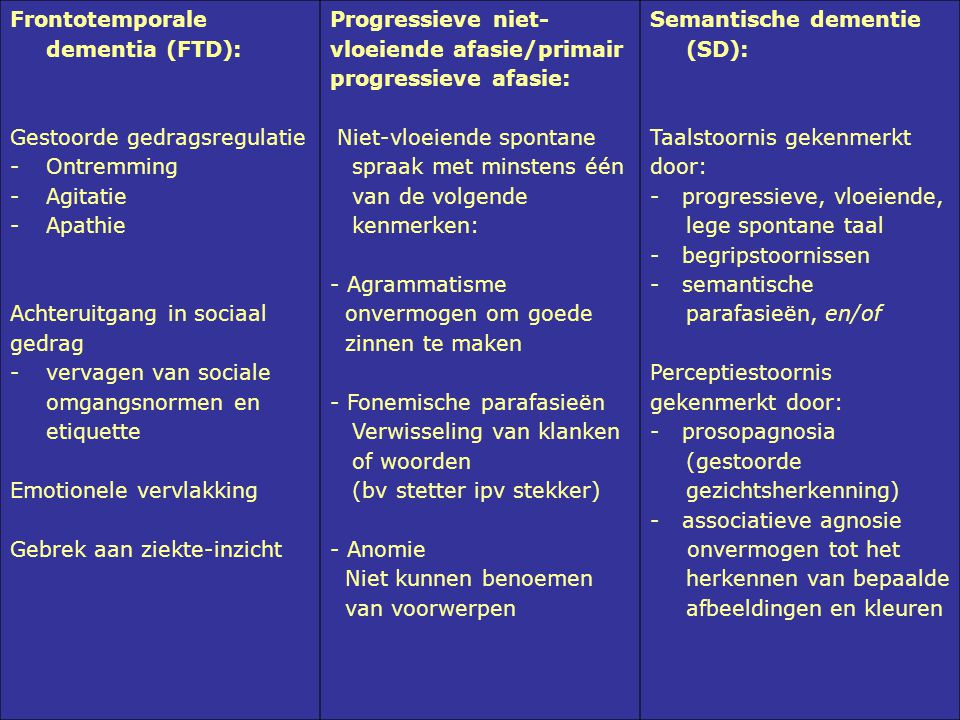 Frontotemporale dementia (FTD):