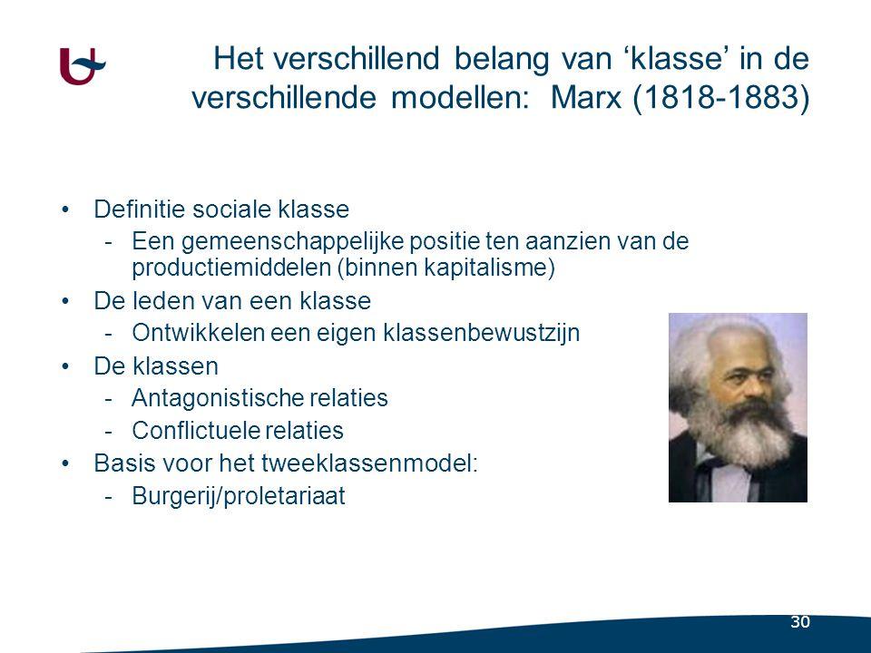 Het verschillend belang van 'klasse' in de verschillende modellen: Max Weber (1864-1920)