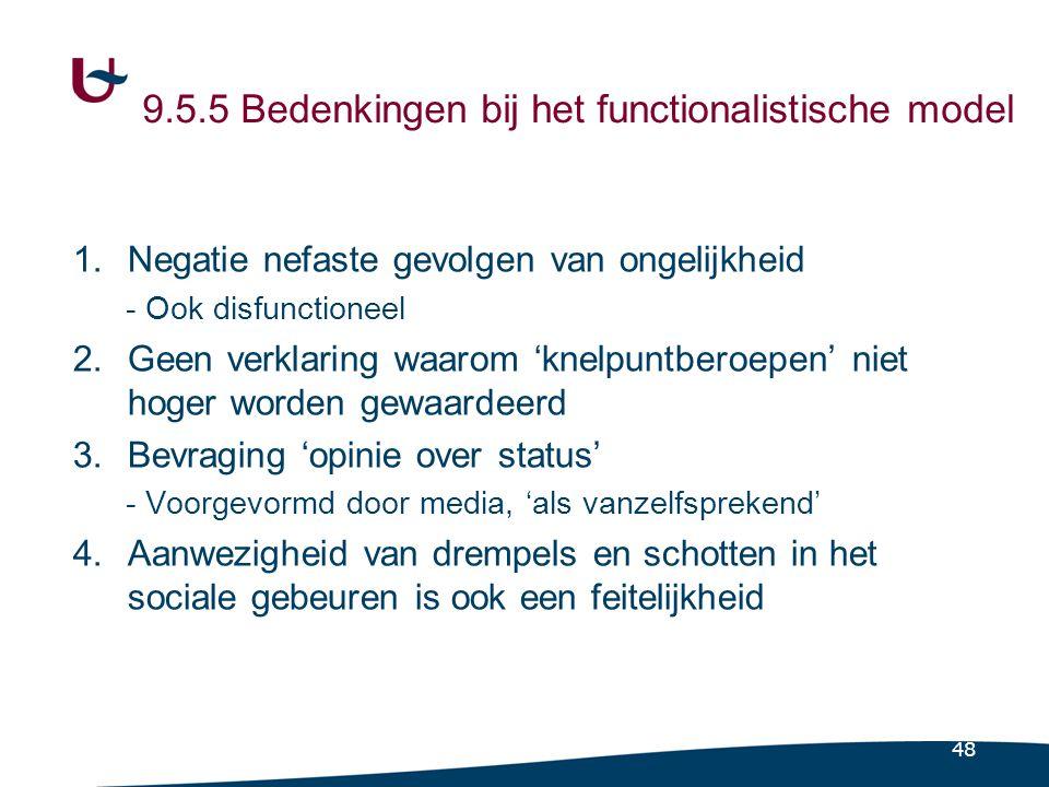 9.5.5 Bedenkingen bij het functionalistische model (1)