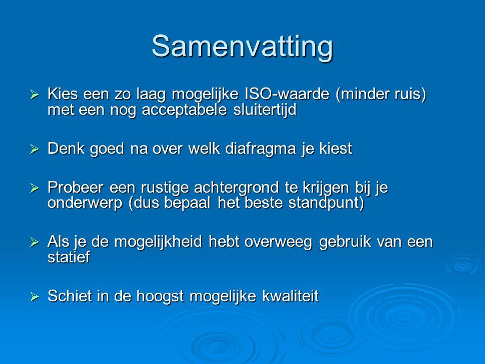 Samenvatting Kies een zo laag mogelijke ISO-waarde (minder ruis) met een nog acceptabele sluitertijd.