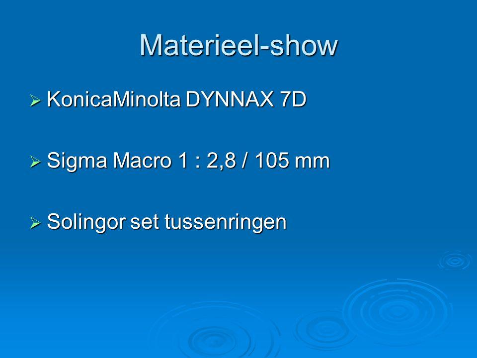 Materieel-show KonicaMinolta DYNNAX 7D Sigma Macro 1 : 2,8 / 105 mm