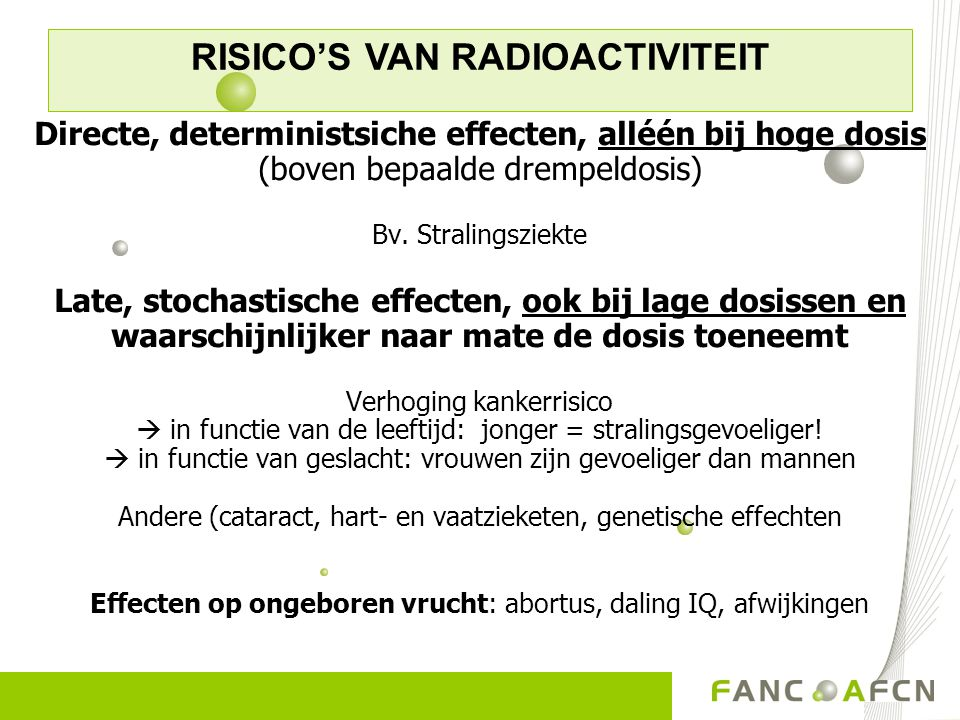 RISICO'S VAN RADIOACTIVITEIT