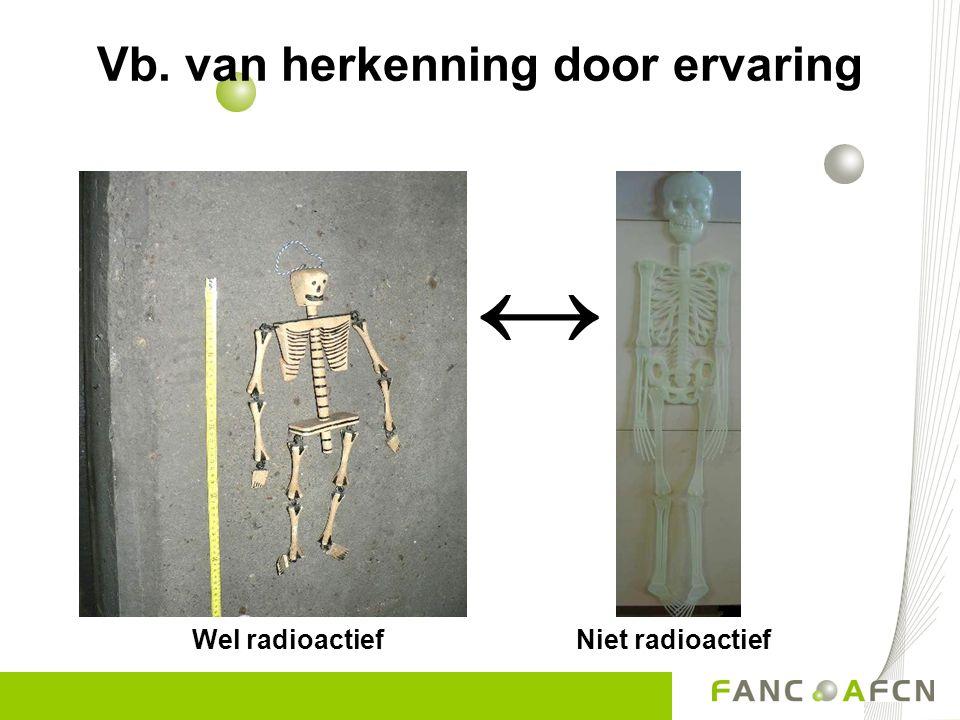 Vb. van herkenning door ervaring Wel radioactief Niet radioactief