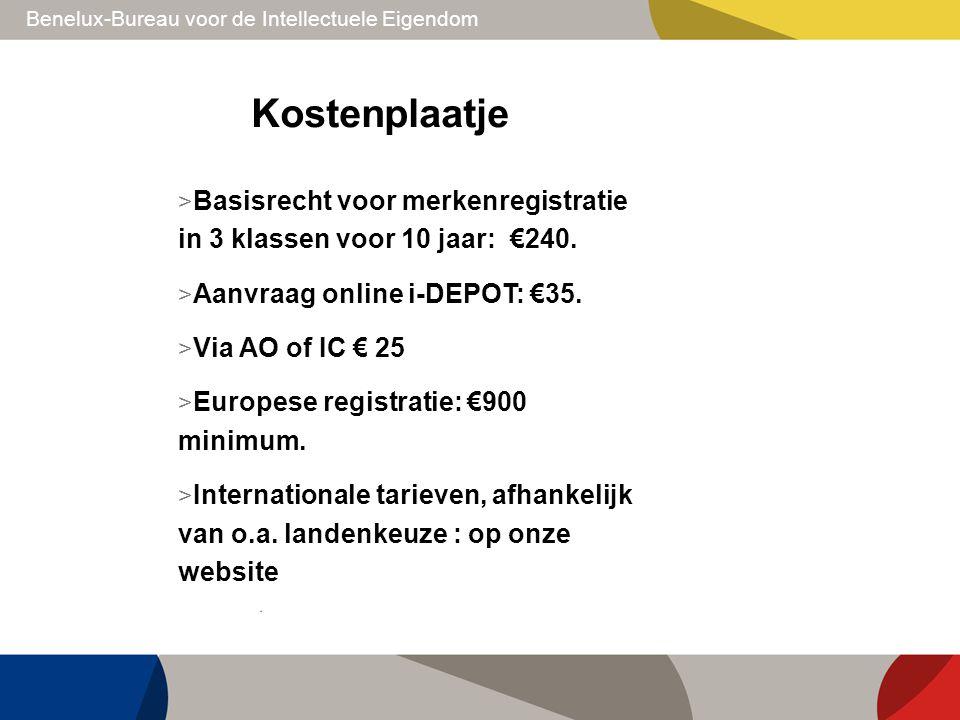Kostenplaatje Basisrecht voor merkenregistratie in 3 klassen voor 10 jaar: €240. Aanvraag online i-DEPOT: €35.