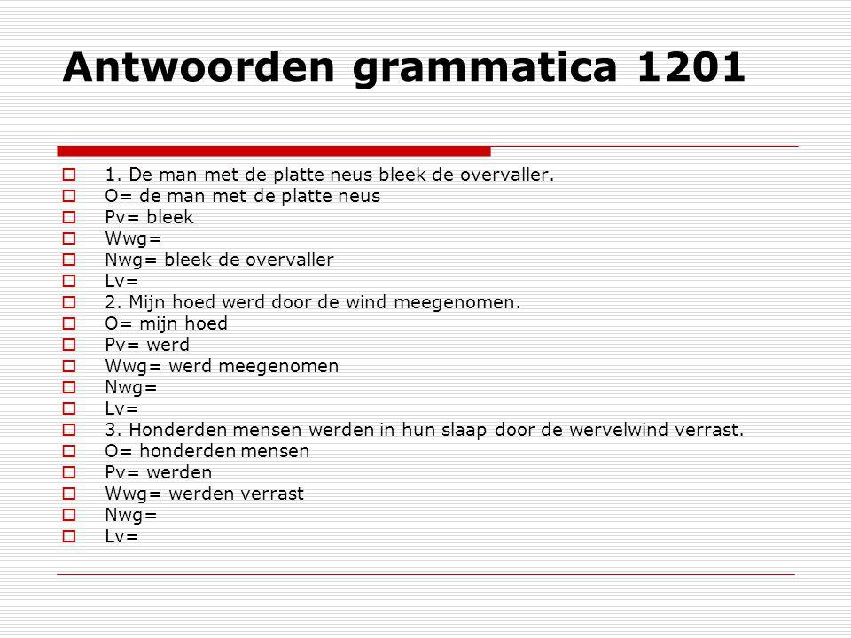 Antwoorden grammatica 1201
