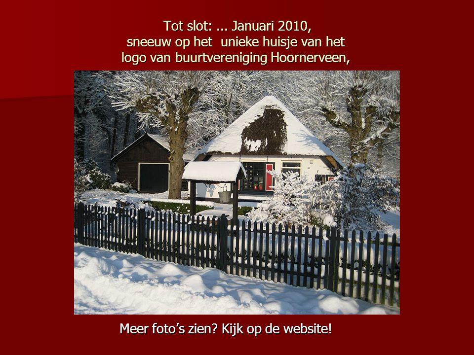 Tot slot: ... Januari 2010, sneeuw op het unieke huisje van het logo van buurtvereniging Hoornerveen,