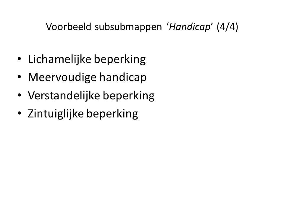 Voorbeeld subsubmappen 'Handicap' (4/4)