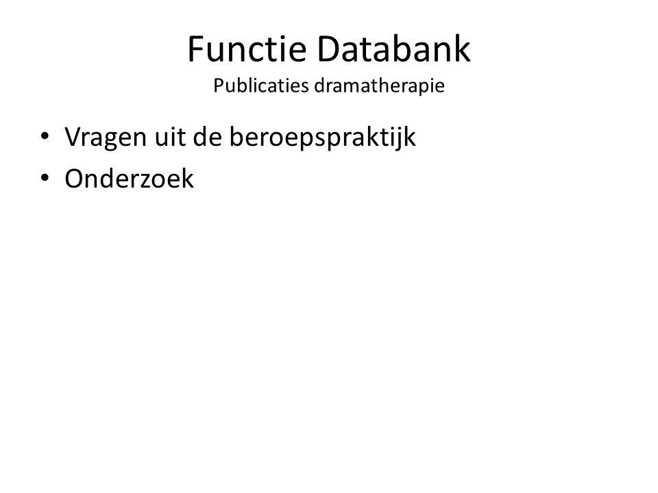 Functie Databank Publicaties dramatherapie