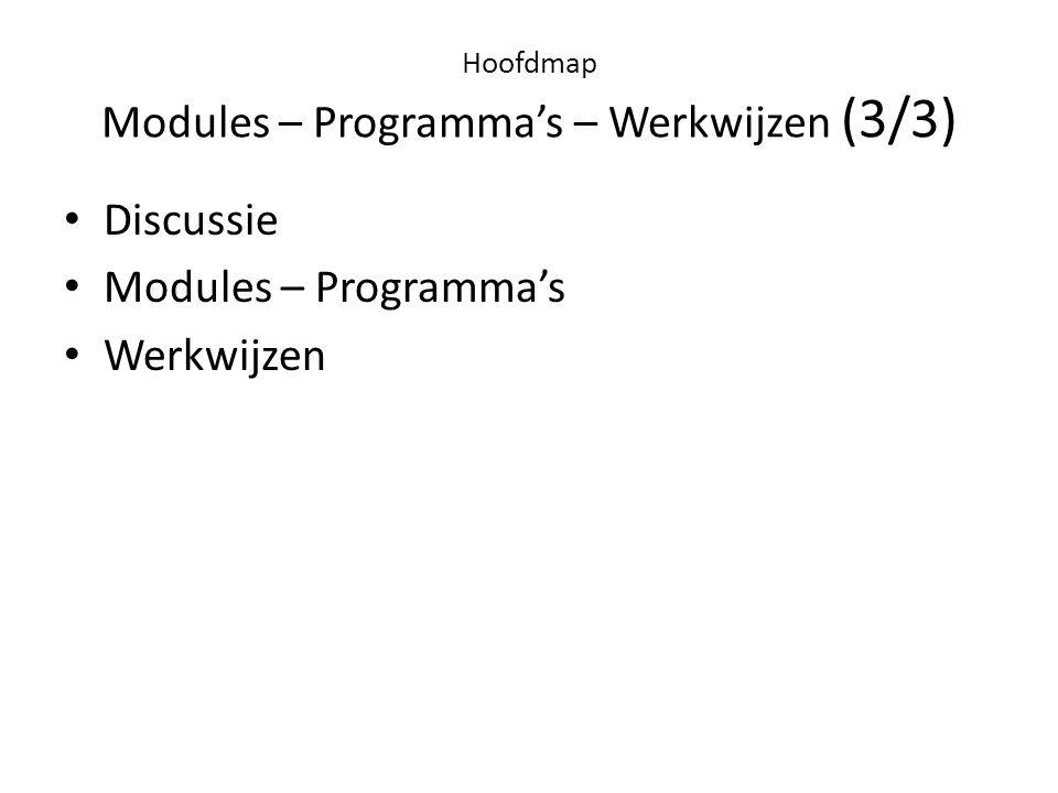 Hoofdmap Modules – Programma's – Werkwijzen (3/3)