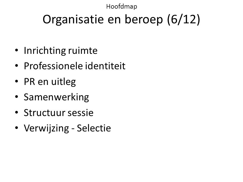 Hoofdmap Organisatie en beroep (6/12)
