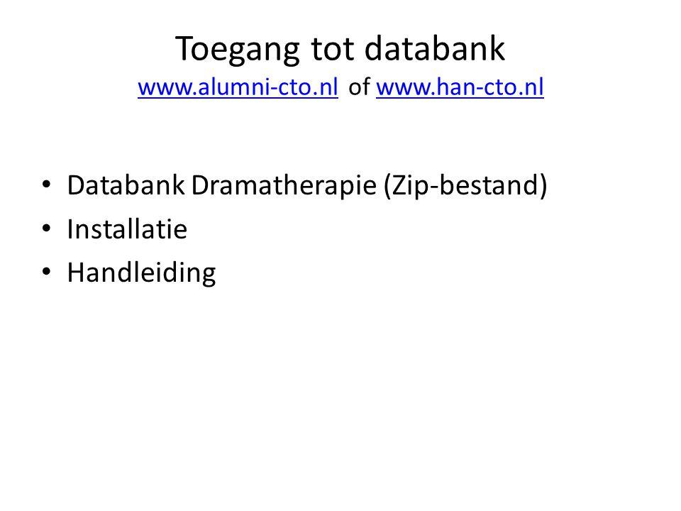 Toegang tot databank www.alumni-cto.nl of www.han-cto.nl