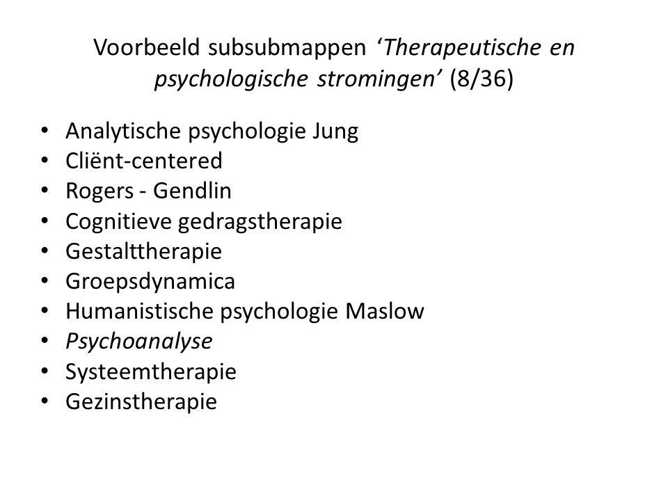 Voorbeeld subsubmappen 'Therapeutische en psychologische stromingen' (8/36)