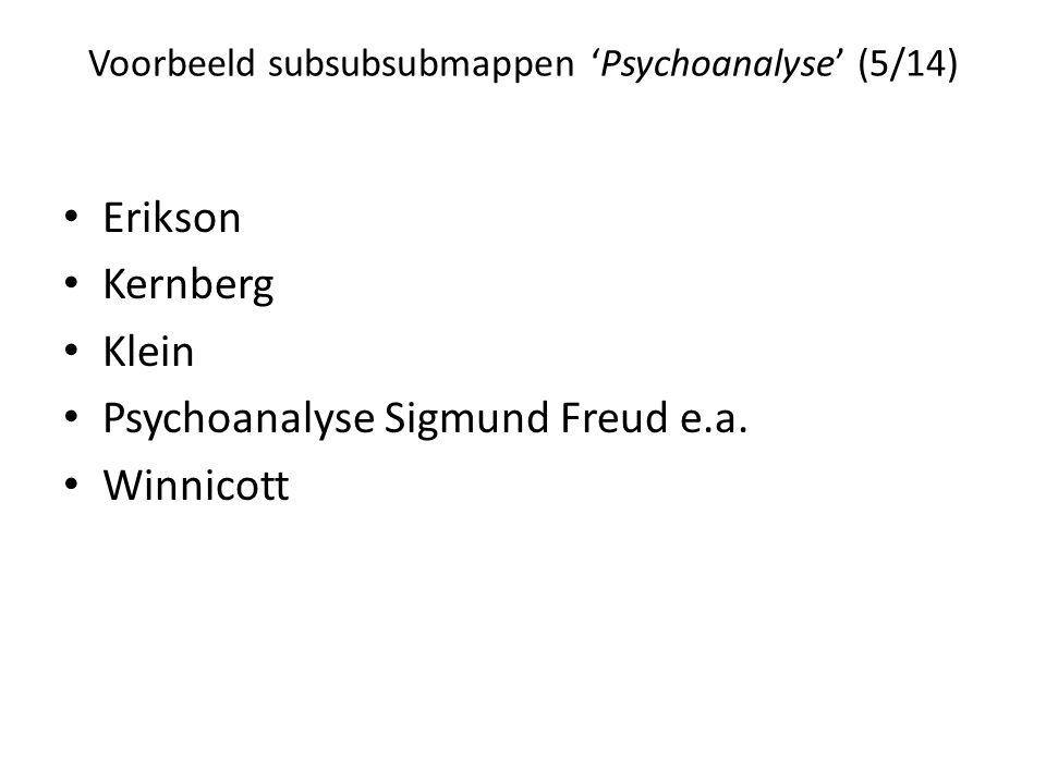 Voorbeeld subsubsubmappen 'Psychoanalyse' (5/14)