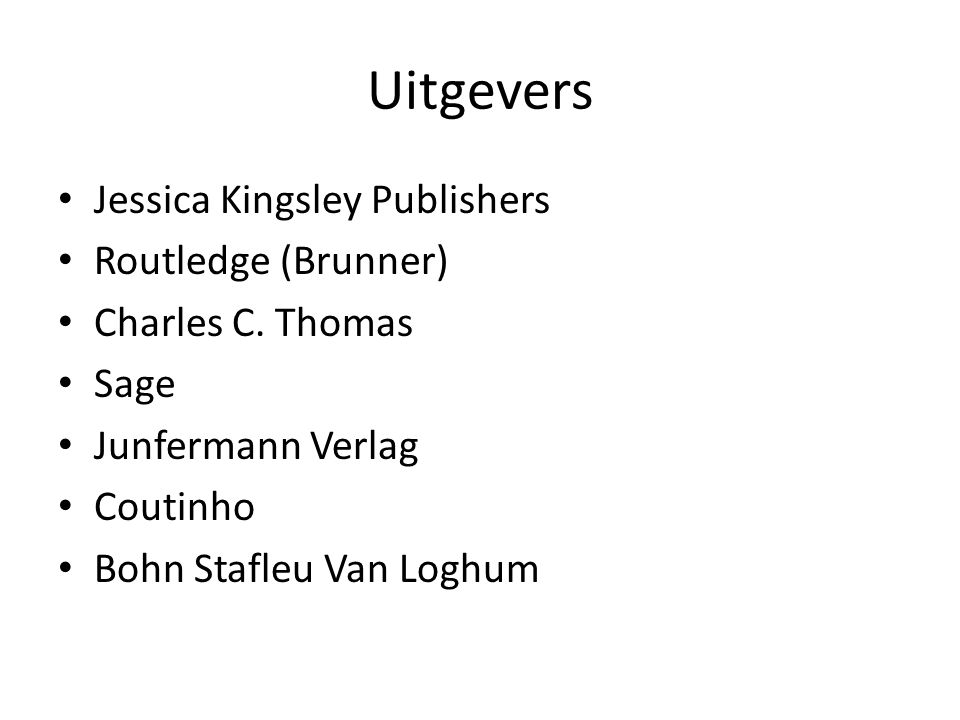 Uitgevers Jessica Kingsley Publishers Routledge (Brunner)