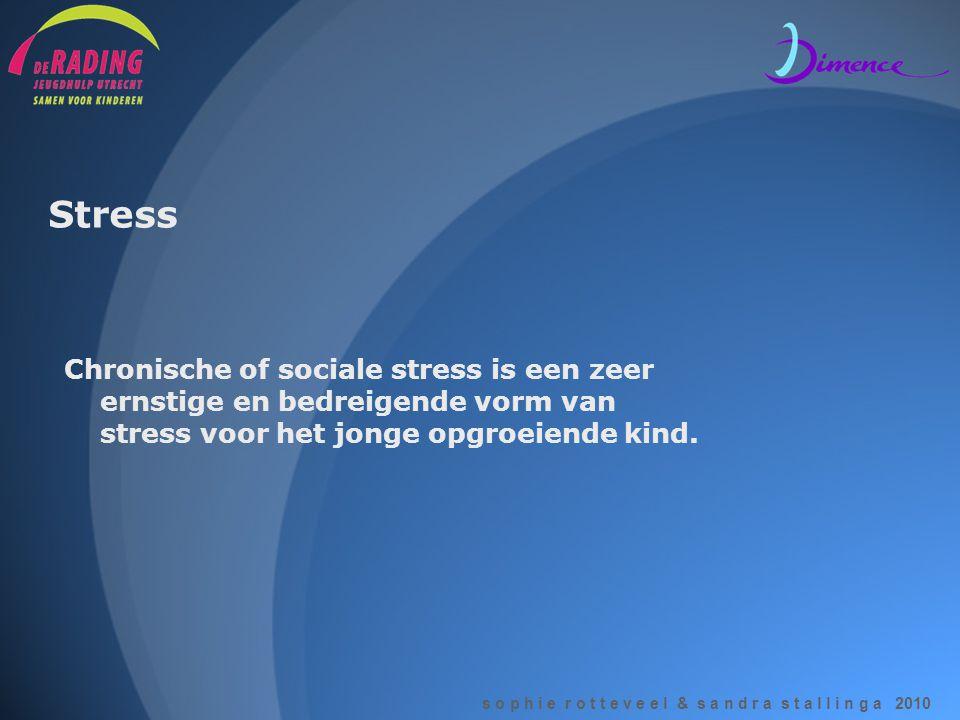 Stress Chronische of sociale stress is een zeer ernstige en bedreigende vorm van stress voor het jonge opgroeiende kind.