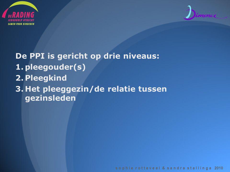 De PPI is gericht op drie niveaus: