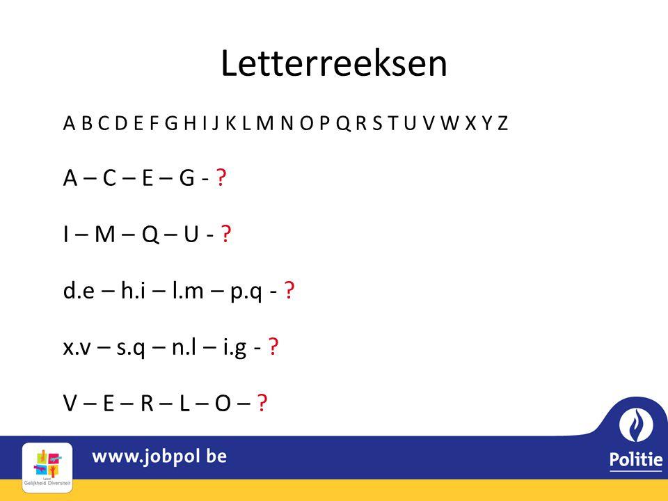 Letterreeksen A – C – E – G - I – M – Q – U -