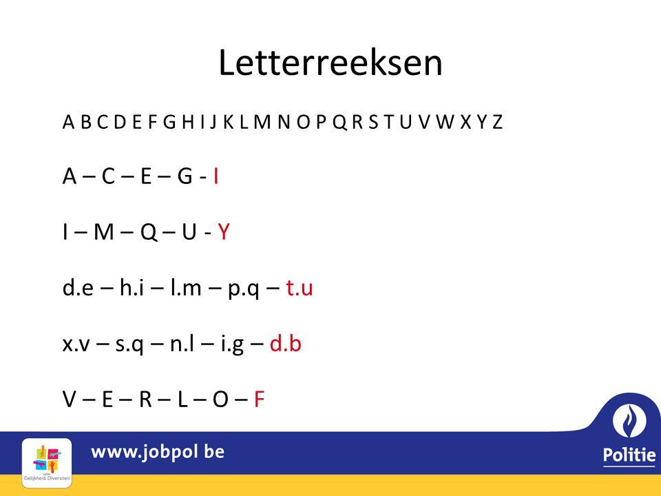 Letterreeksen A – C – E – G - I I – M – Q – U - Y