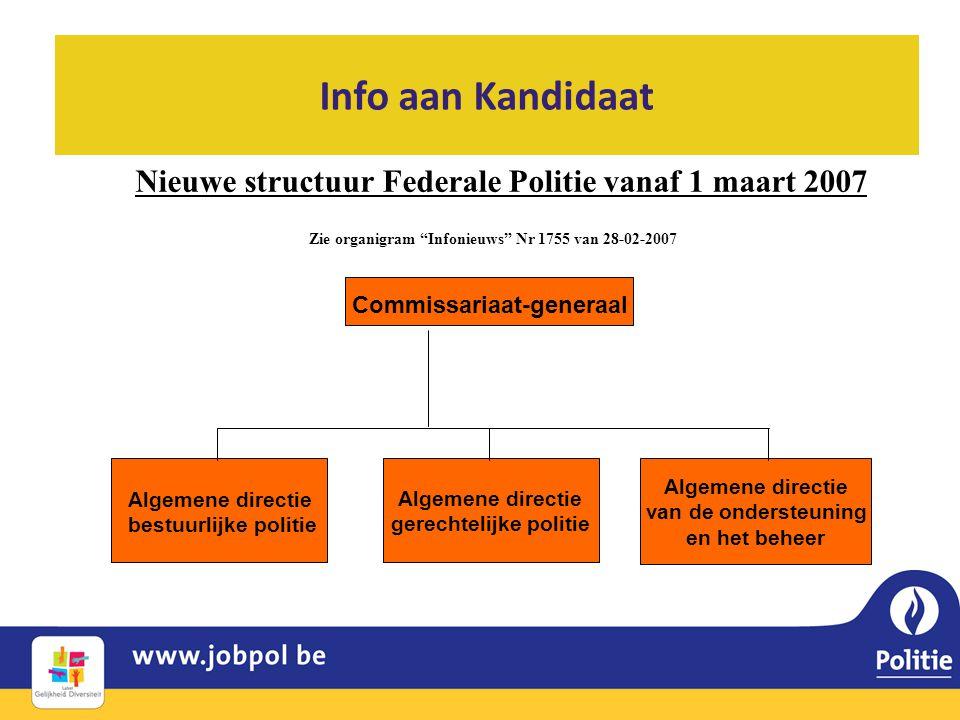 Info aan Kandidaat Nieuwe structuur Federale Politie vanaf 1 maart 2007. Zie organigram Infonieuws Nr 1755 van 28-02-2007.