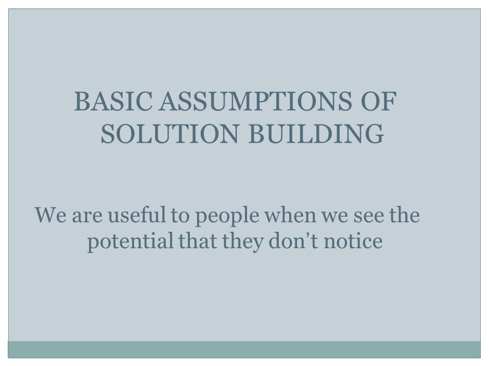BASIC ASSUMPTIONS OF SOLUTION BUILDING