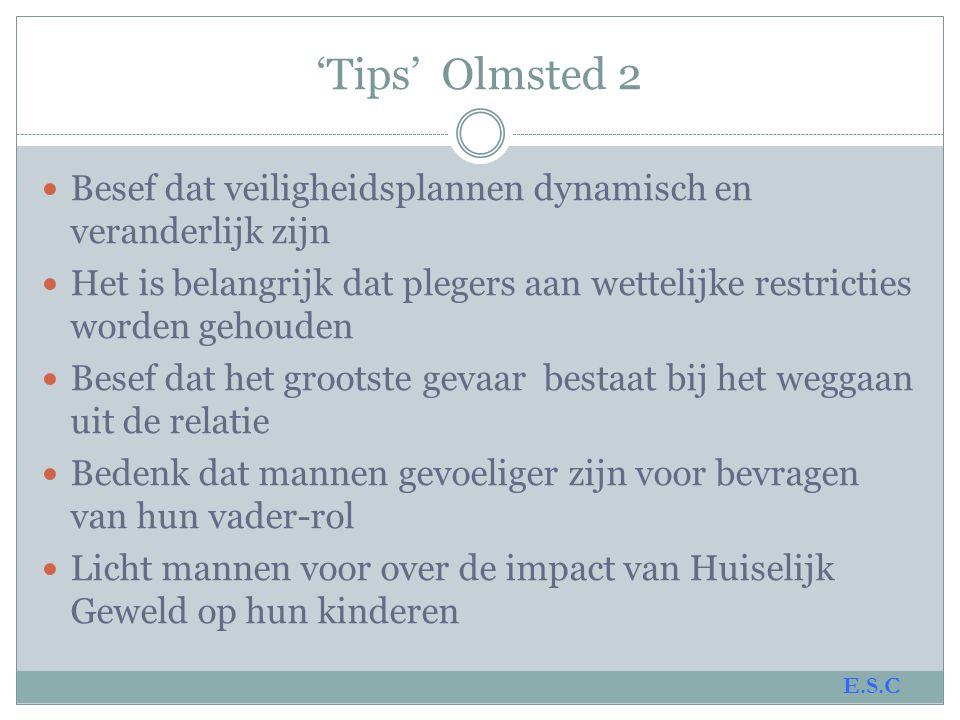 'Tips' Olmsted 2 Besef dat veiligheidsplannen dynamisch en veranderlijk zijn.