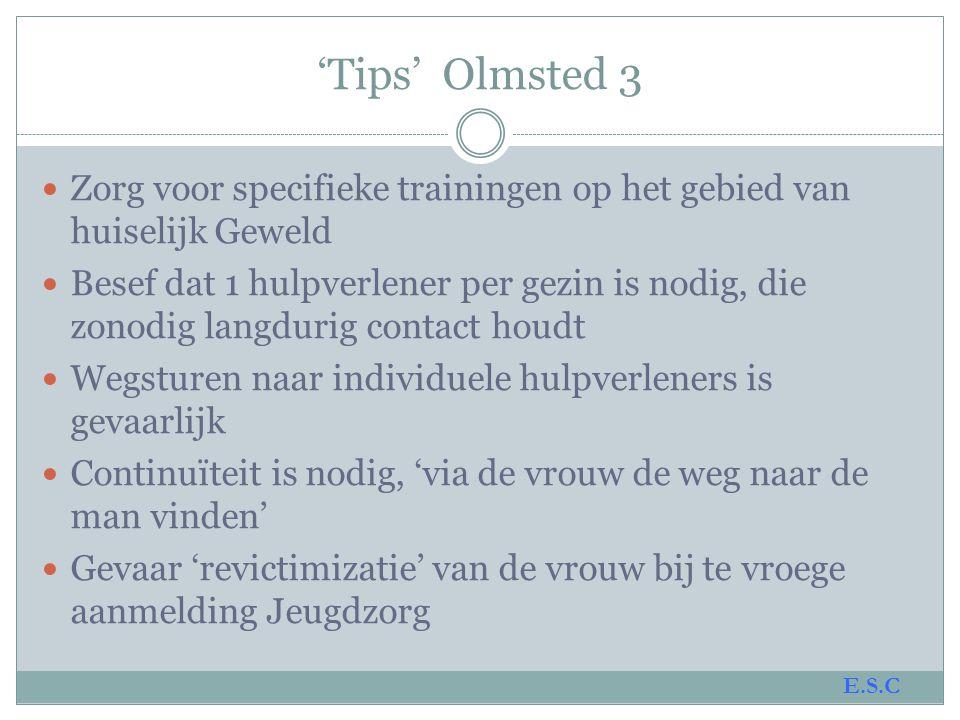 'Tips' Olmsted 3 Zorg voor specifieke trainingen op het gebied van huiselijk Geweld.