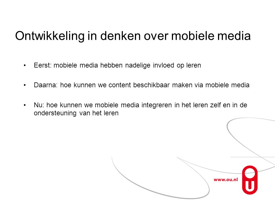 Ontwikkeling in denken over mobiele media