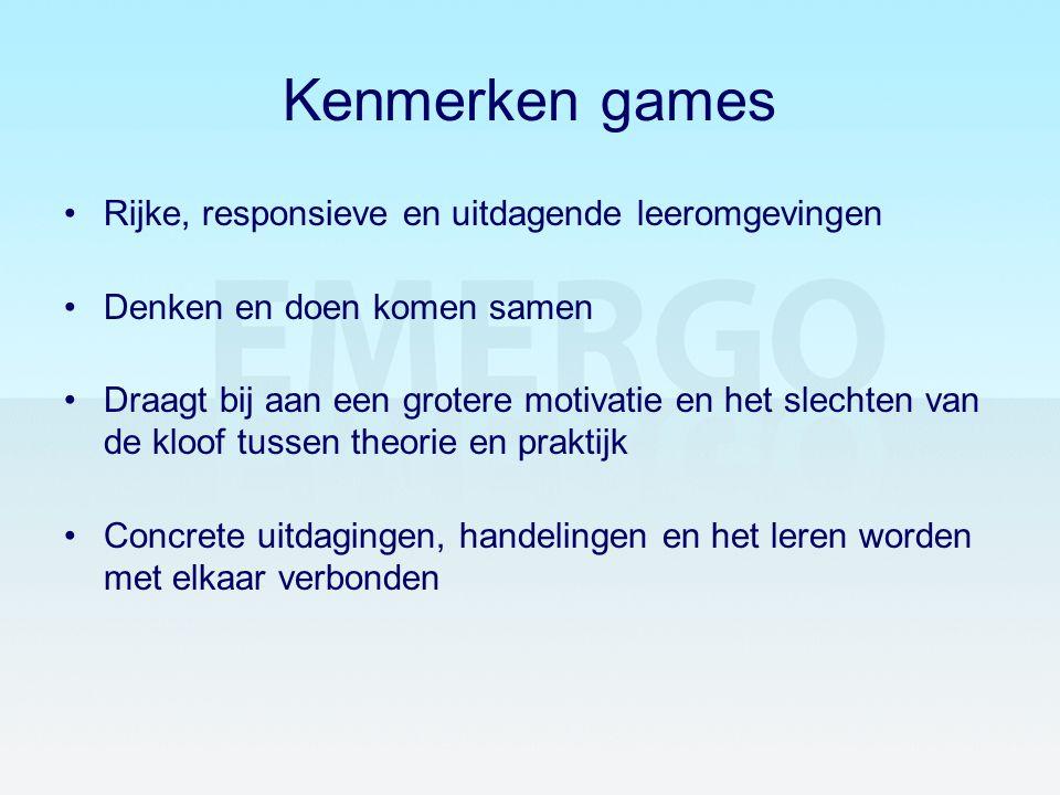 Kenmerken games Rijke, responsieve en uitdagende leeromgevingen