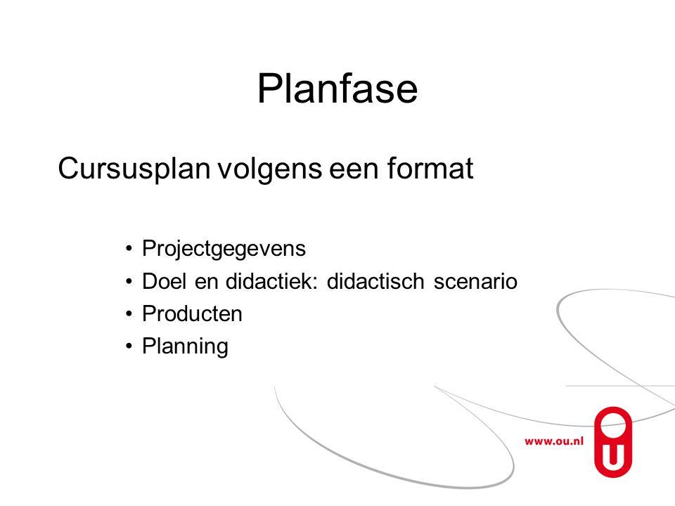 Planfase Cursusplan volgens een format Projectgegevens
