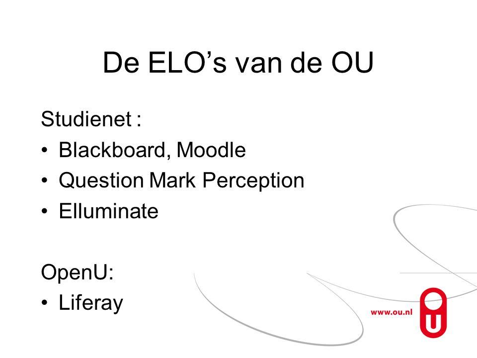 De ELO's van de OU Studienet : Blackboard, Moodle