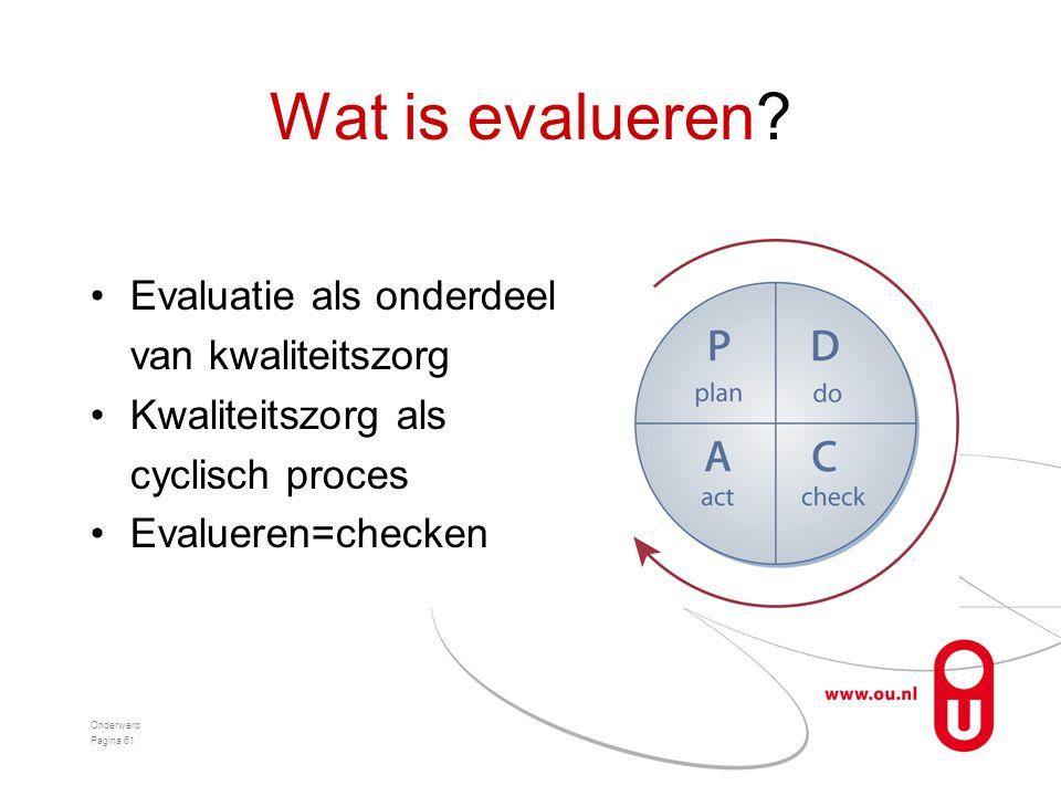 Wat is evalueren Evaluatie als onderdeel van kwaliteitszorg