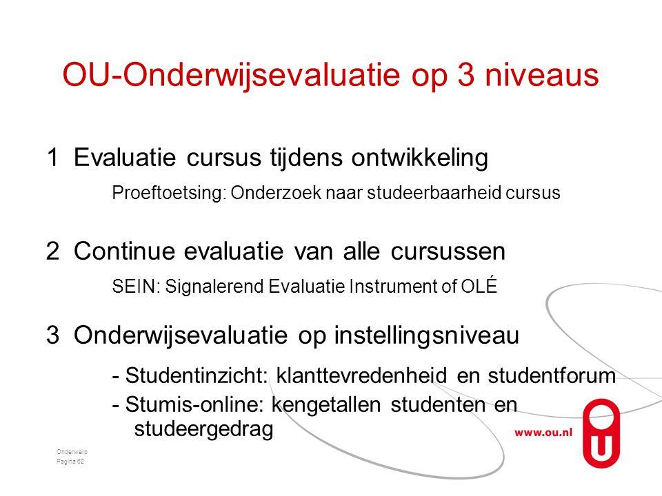 OU-Onderwijsevaluatie op 3 niveaus