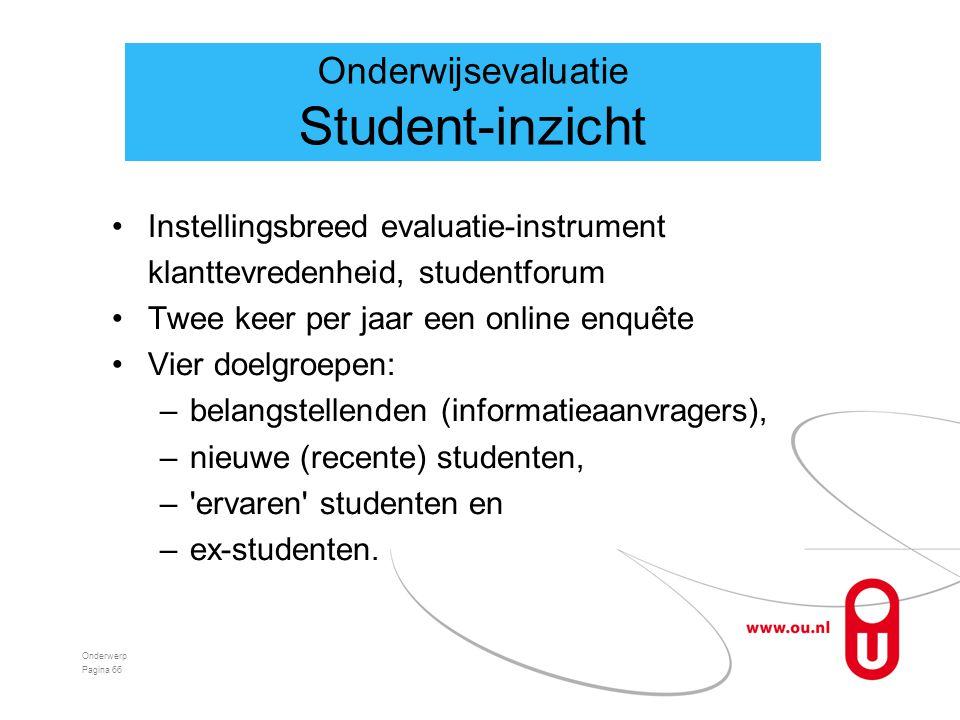 Student-inzicht Onderwijsevaluatie
