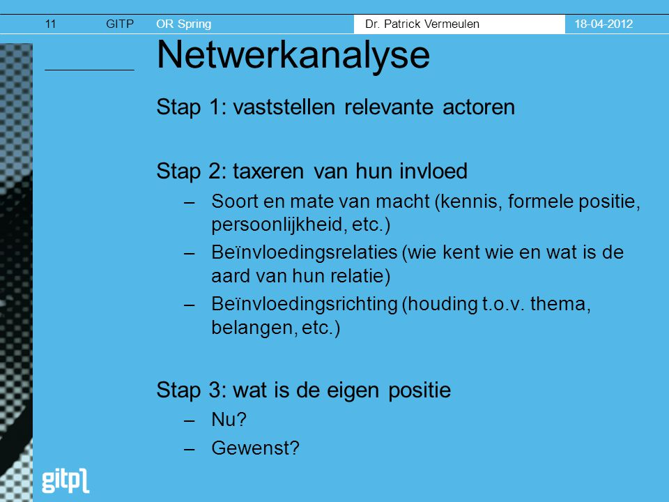 Netwerkanalyse Stap 1: vaststellen relevante actoren