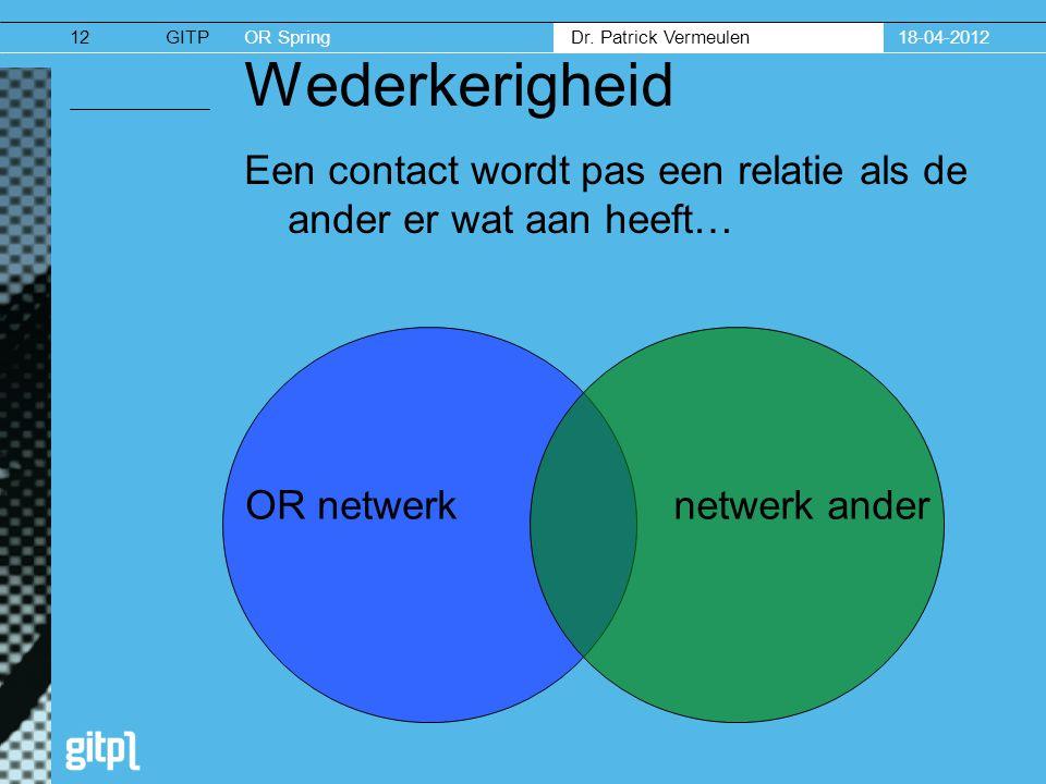 18-04-2012 Wederkerigheid. Een contact wordt pas een relatie als de ander er wat aan heeft… OR netwerk.