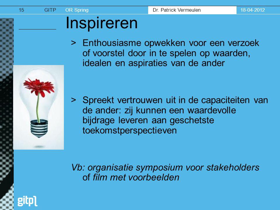 18-04-2012 Inspireren. Enthousiasme opwekken voor een verzoek of voorstel door in te spelen op waarden, idealen en aspiraties van de ander.