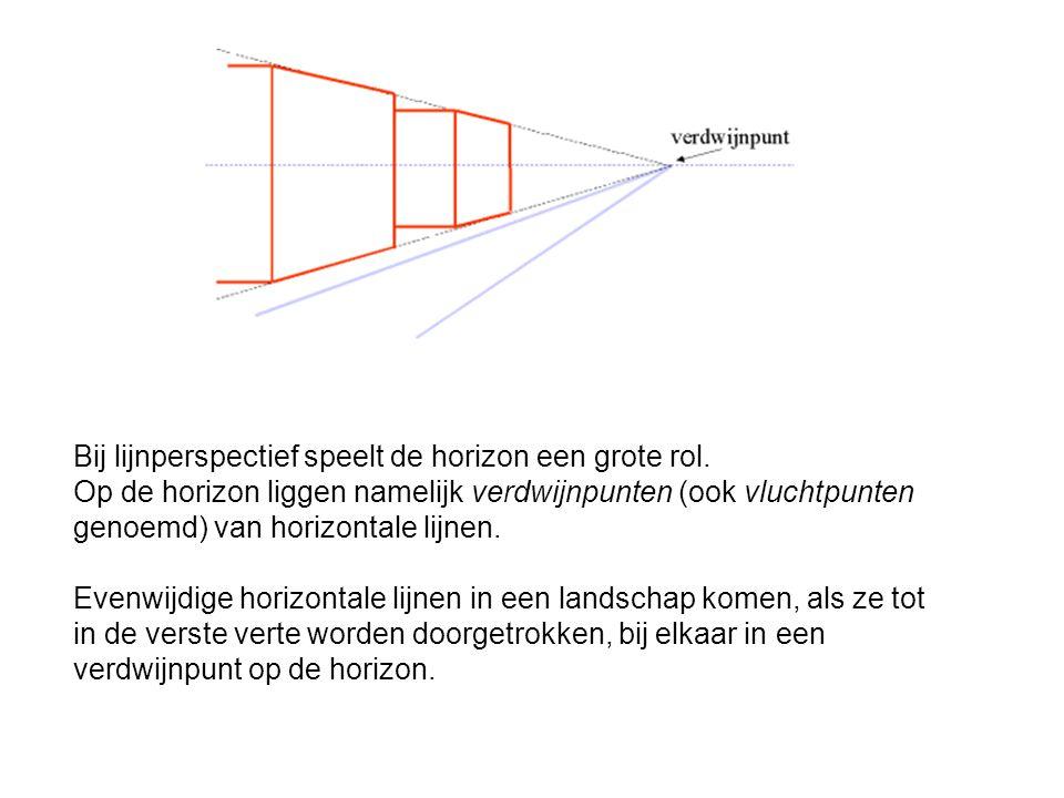Bij lijnperspectief speelt de horizon een grote rol.