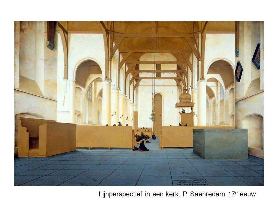 Lijnperspectief in een kerk. P. Saenredam 17e eeuw