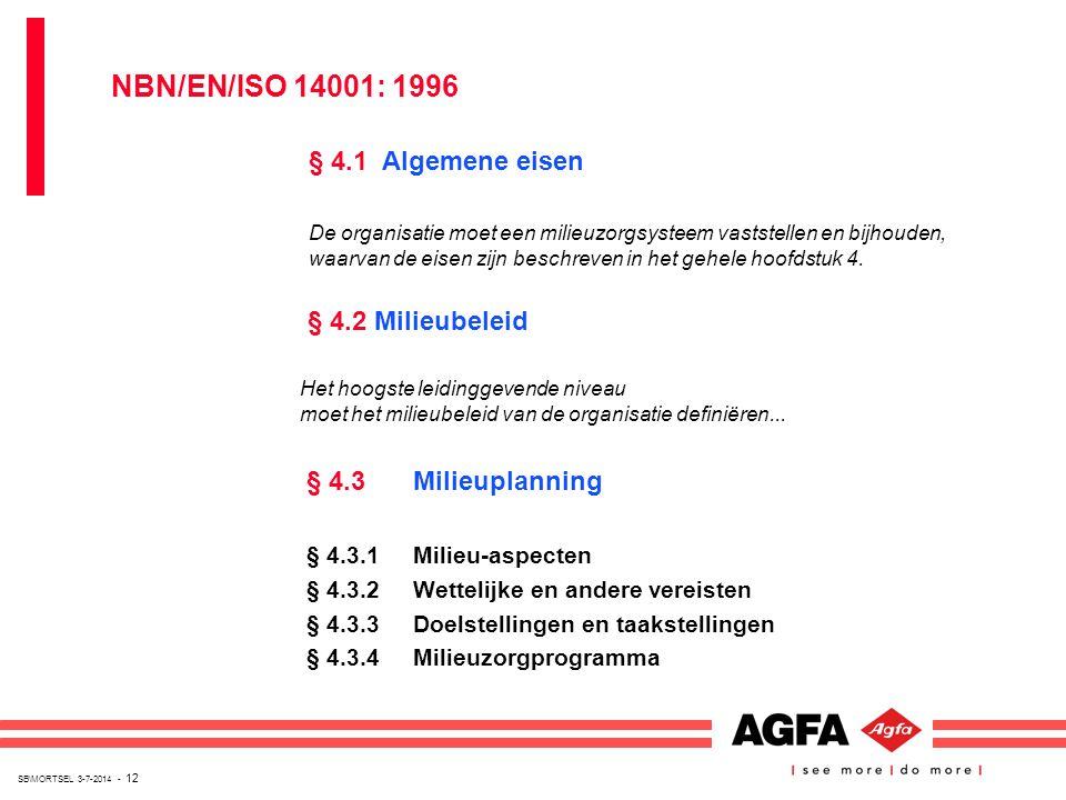 NBN/EN/ISO 14001: 1996 § 4.1 Algemene eisen § 4.2 Milieubeleid