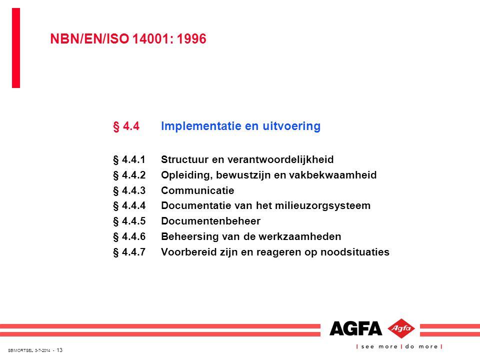 NBN/EN/ISO 14001: 1996 § 4.4 Implementatie en uitvoering