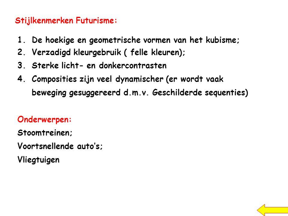 Stijlkenmerken Futurisme: