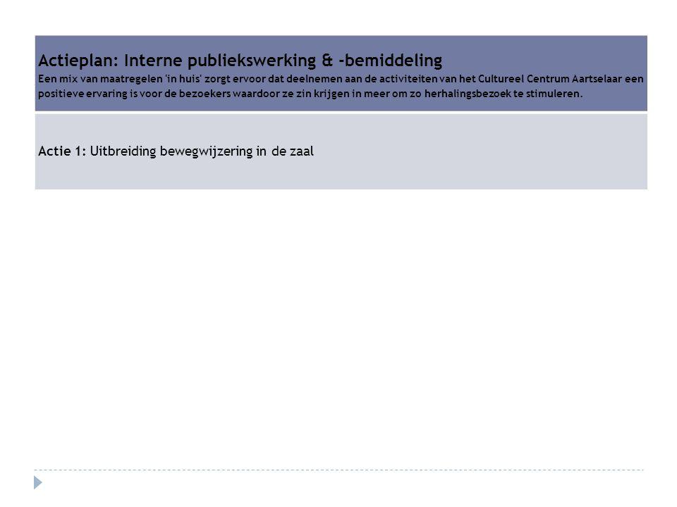 Actieplan: Interne publiekswerking & -bemiddeling
