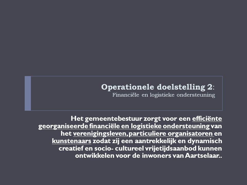 Operationele doelstelling 2: Financiële en logistieke ondersteuning
