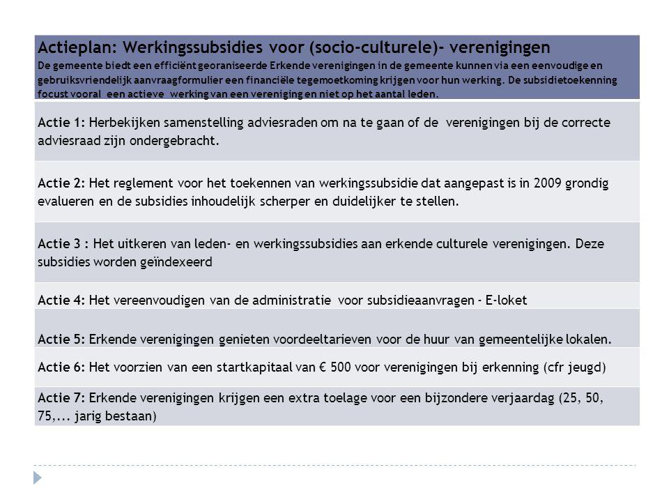 Actieplan: Werkingssubsidies voor (socio-culturele)- verenigingen