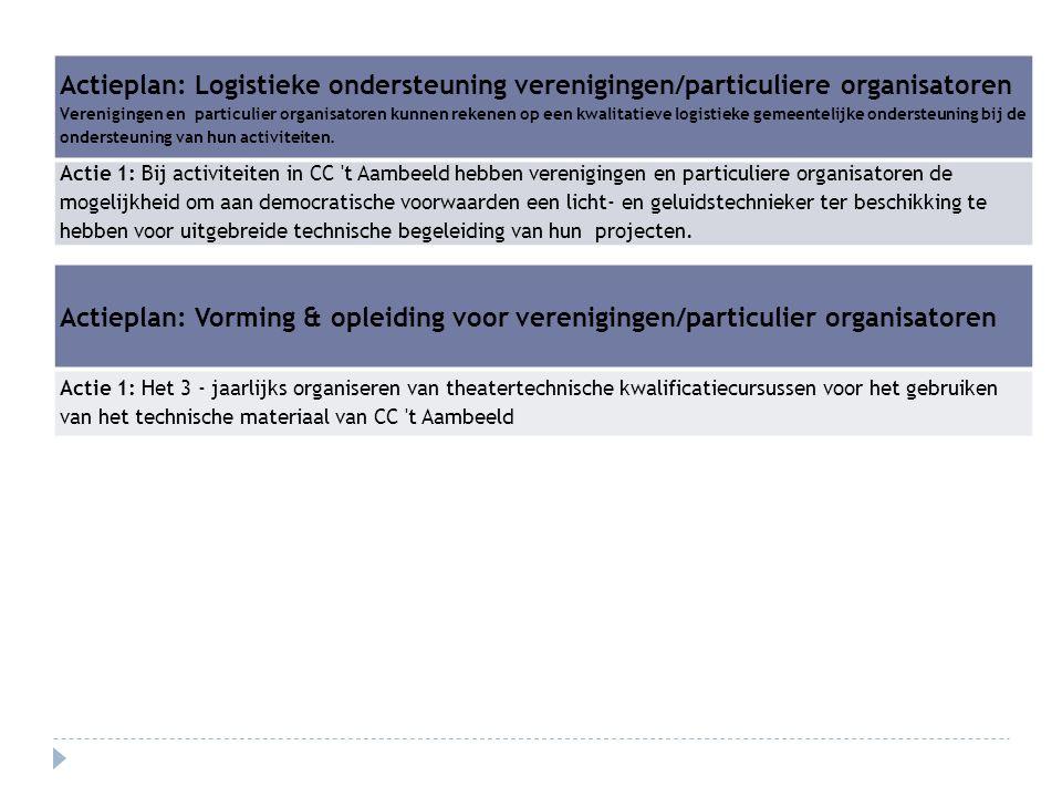 Actieplan: Logistieke ondersteuning verenigingen/particuliere organisatoren